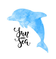Sun and sea hand drawn calligraphy lettering vector