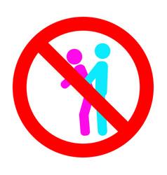 Symbol mark prohibit make love in public place vector