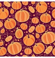 Thanksgiving pumpkins seamless pattern background vector image