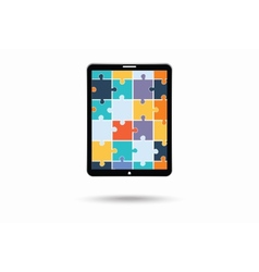 The electronic device with puzzles vector image
