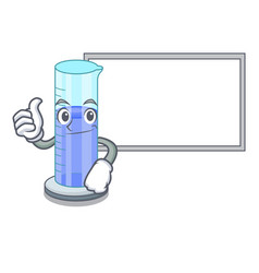 Thumbs up with board graduated cylinder with on vector