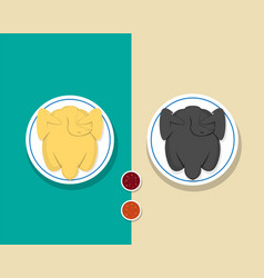 Top view whole steamed chicken and roasted turkey vector