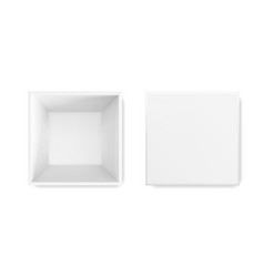 white box 3d top view gift package white vector image