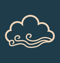 wind and cloud icon in flat style isolated on vector image