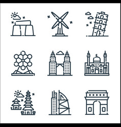 World monument line icons linear set quality line vector