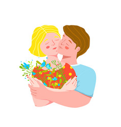 young lovers couple hugging holding wild flowers vector image