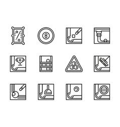 Billiard accessories black line icons set vector