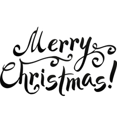 Black Merry Christmas hand-writing lettering vector image