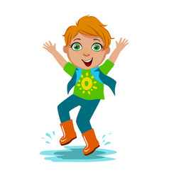 boy in t-shirt and rubber boots kid in autumn vector image vector image