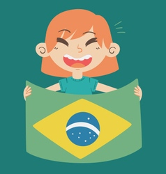 Cartoon Girl Holding a Brazil Flag vector image