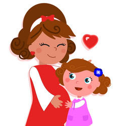 cartoon isolated pregnant mother with daughter vector image vector image