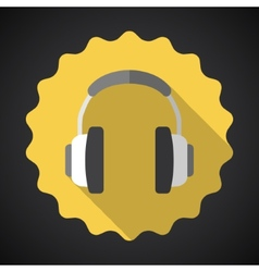 Music Headphones Earphones Flat Icon vector image