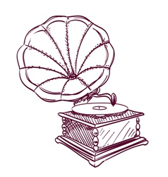 phonograph hand drawn vector image vector image