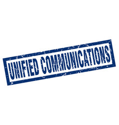 square grunge blue unified communications stamp vector image