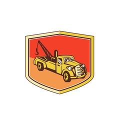 Vintage Tow Truck Wrecker Shield Retro vector image