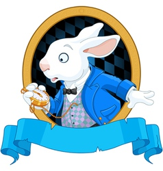 White Rabbit with watch design vector image