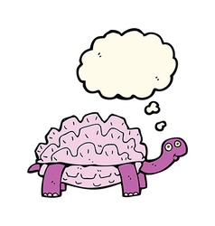 cartoon tortoise with thought bubble vector image vector image