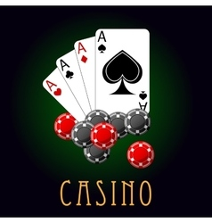 Casino symbols wit cards and chips vector image vector image