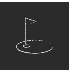 Golf hole with a flag icon drawn in chalk vector image vector image