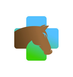 horse head in a medical cross logo vector image vector image