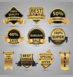 luxury golden labels and elegant gold emblems vector image