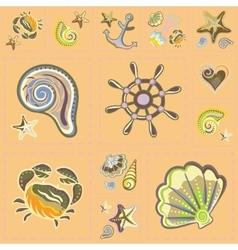 Marine Seamless Pattern Sea Patchwork vector image