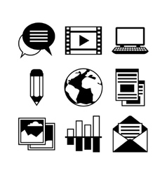 Media and communication set of blog icons vector image vector image