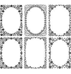 silhouette of frames with floral decoration vector image vector image