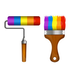 brush and roller for painting vector image