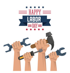 colorful poster of happy labor day with hands vector image