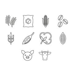 Commodities icon set vector