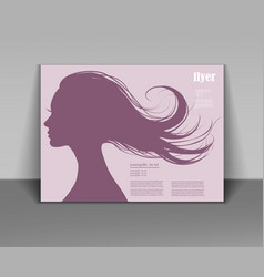 head profile of a beautiful woman with flying hair vector image vector image