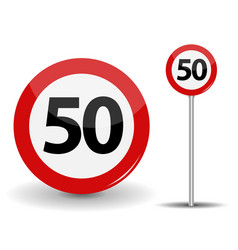 Round red road sign speed limit 50 kilometers per vector