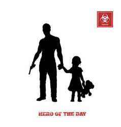 black silhouette of man with gun and little girl vector image vector image