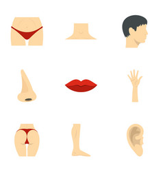 male and female body parts icons set flat style vector image vector image