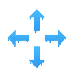 Melting navigation arrows set left right up and vector
