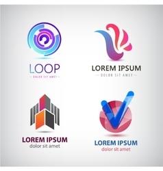 set of abstract logos company icons vector image vector image