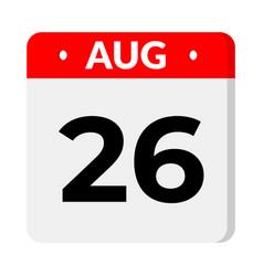 26 august calendar icon vector