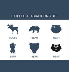 6 alaska icons vector image