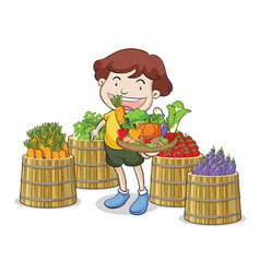 A boy and vegetables vector
