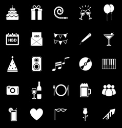Birthday icons on black backgound vector