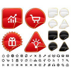 Buttons and signs set vector