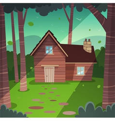 Cabin in woods vector image