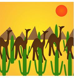 Camel caravan in wild desert mountain nature vector
