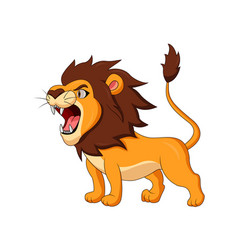 cartoon lion roaring vector image
