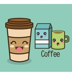 cartoon set coffee cup milk vector image