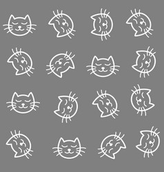 Cats seamless pattern cute calm cats cartoon vector