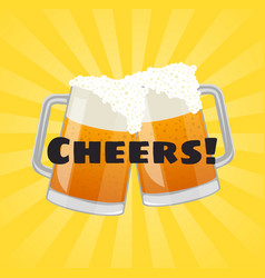 Cheers beer poster with beer mugs vector