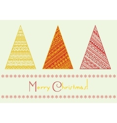 christmas tree set with geometrical line vector image