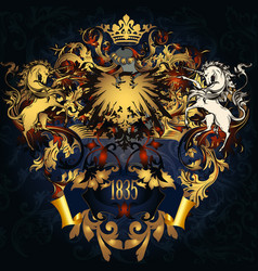 coat arms in luxury golden style vector image